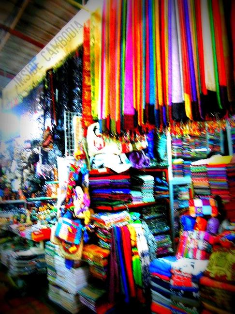 Cambodian silk scarves