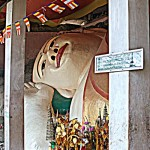 A close up view of the giant reclining Buddha.