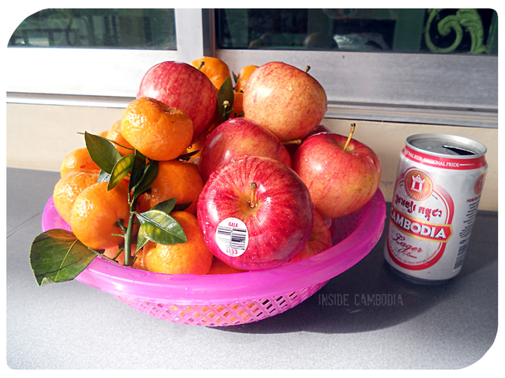 Snacking on fruits. And beer.